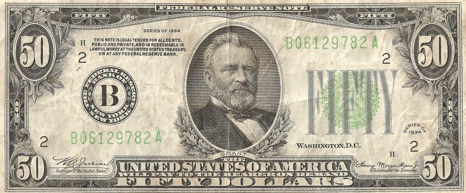 US 1934 %0 dollar bill